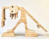 tête penchée ; sculpture bois chantourné