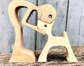 sculpture en bois chantourné ; un homme un chien version 2