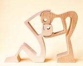 sculpture bois chantourné ; couple