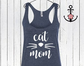 Cat Mom Racerback Tank Top, Shirt For Cat Mom, Cat Shirt, Fur Mama Shirt, Animal Lover Shirt, Animal Lover Gift, Gift For New Cat Mom