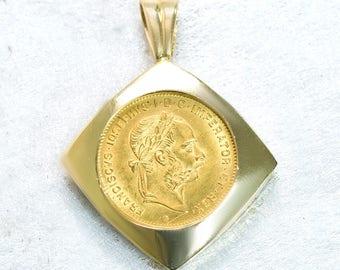 1892 Austria 10 Francs Gold Coin Pendant Necklace   Austria Ten Francs Coin Pendant   Antique Jewelry   Antique Jewellery   Vintage Coin