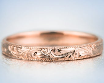 Hand Engraved Rose Gold Wedding Band Ring | Antique Style Wedding Ring | Stacking Ring | Antique Engraved Ring | Wedding Ring | Promise Ring