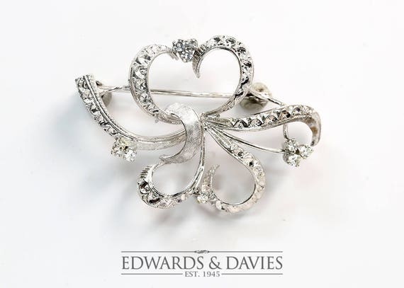 White Gold and Diamond Pin Brooch | White Gold Lap