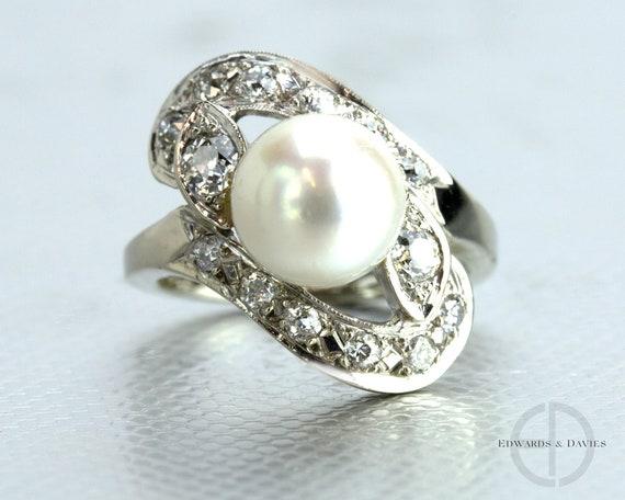 Salt Water Pearl Diamond White Gold Ring   Vintage