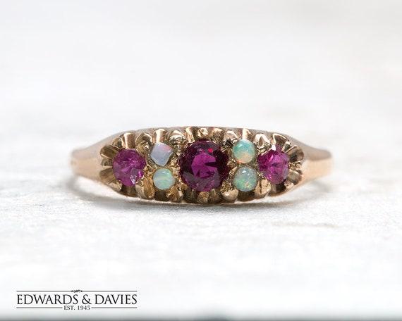 Ruby Opal Gold Ring | Ruby Opal Stone Ring | Antiq