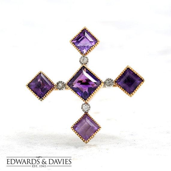 Gold Diamond Amethyst Pin Brooch | Pin Brooch | La
