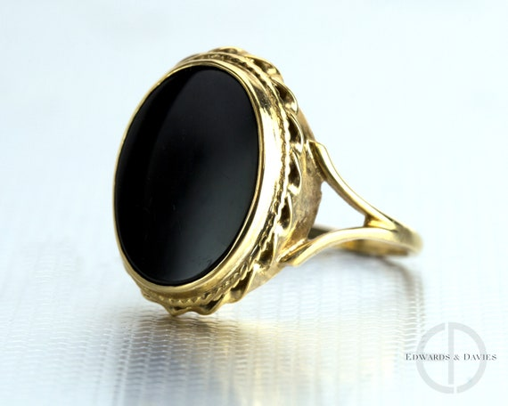 Vintage Onyx Yellow Gold Ring | Onyx Statement Rin