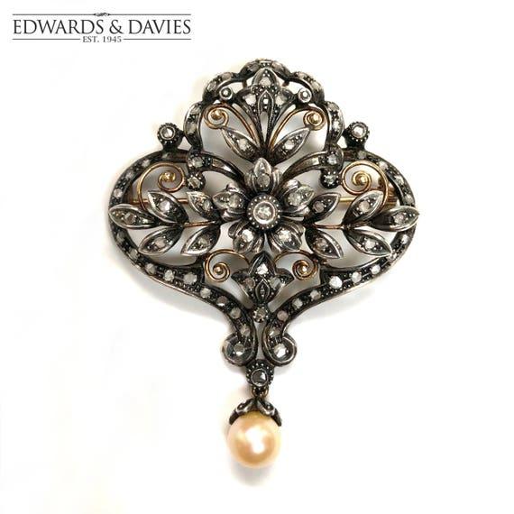 Diamond and Pearl Gold Brooch | 18k Art Deco Pin B