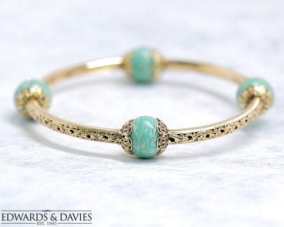 Gold Bangle Bracelet | Amazonite Bangle | Upper Ar