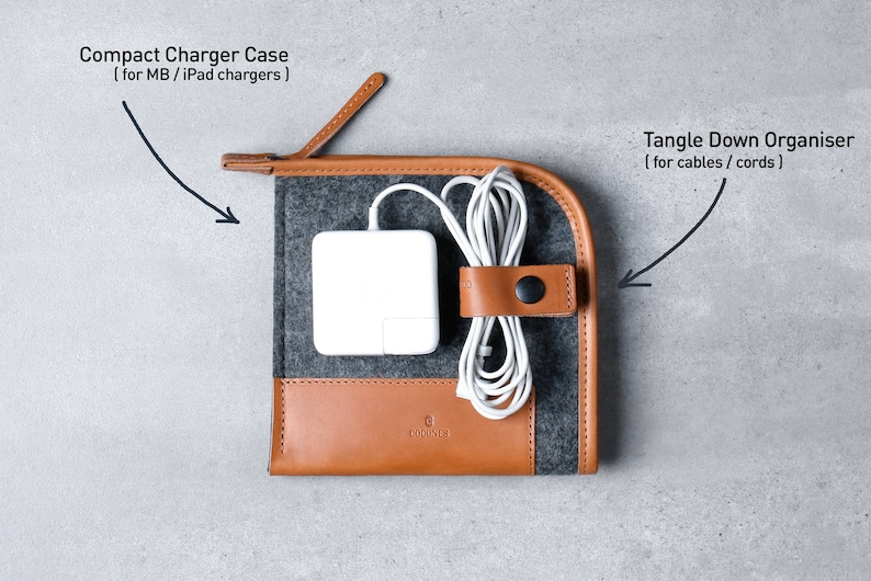 Leather Cord Cable Organizer Clip Tech Accessories TANGLE DOWN Leather Earphone Holder Cocones