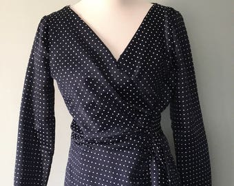 1970's Polka Dot Wrap Dress - Navy Blue and White - 3/4 Length Sleeves - Robert David Morton - Size Small-Medium