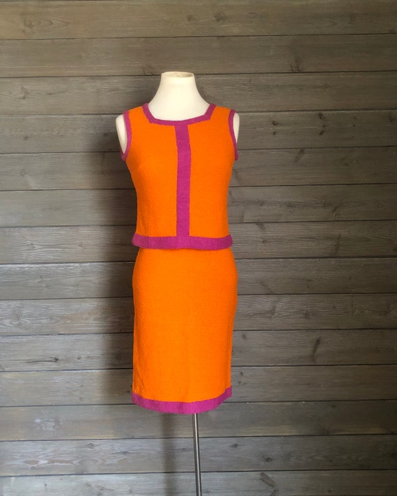1960s Orange and Magenta Knit Skirt and Top Set