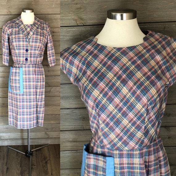 1950s/1960s Plaid Wiggle Dress with Pockets and Ma