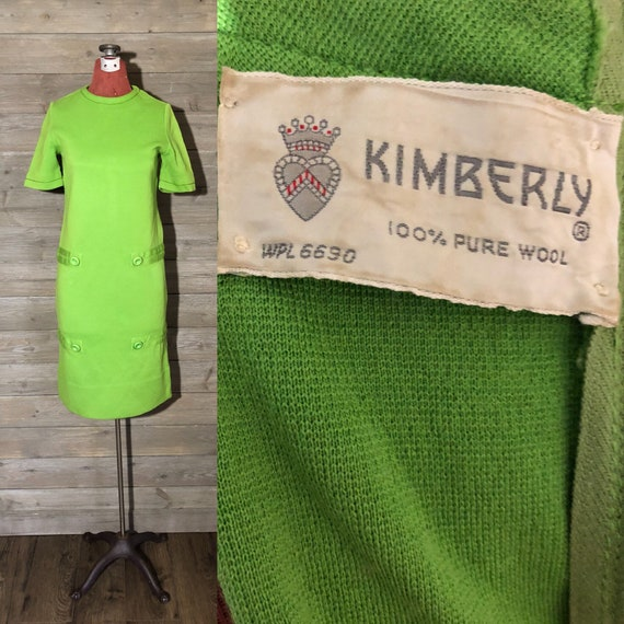 1960s Lime Green Mod Knit Dress