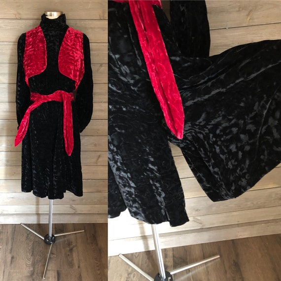 1970s Black Crushed Velvet Gaucho Jumpsuit with Re