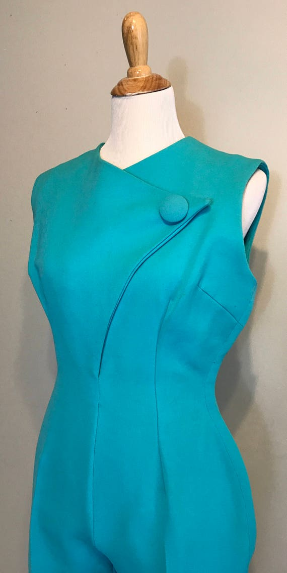 White 16 by Boutique Size Ski Ski Ski Jumpsuit Stag Medium Aqua Wear Resort Blue Apres 1960's Snow 1x7v7Z