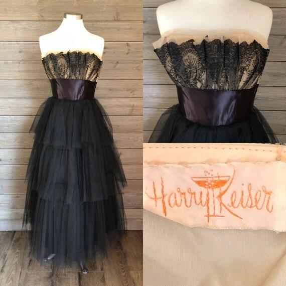1950s Black Tulle Gown - Harry Keiser