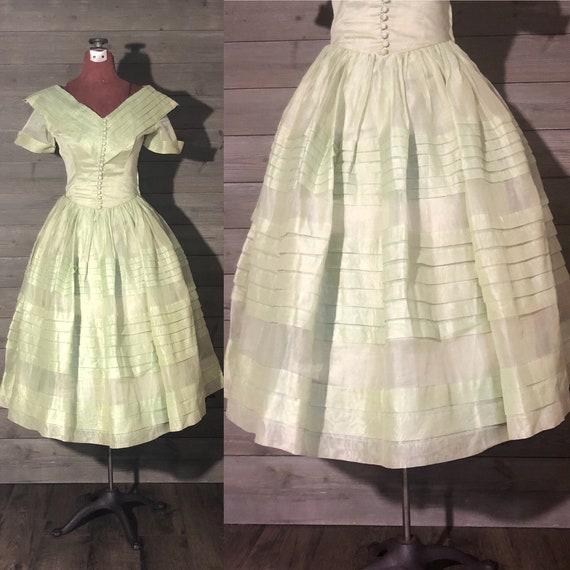 1950s Seafoam Green Party Dress