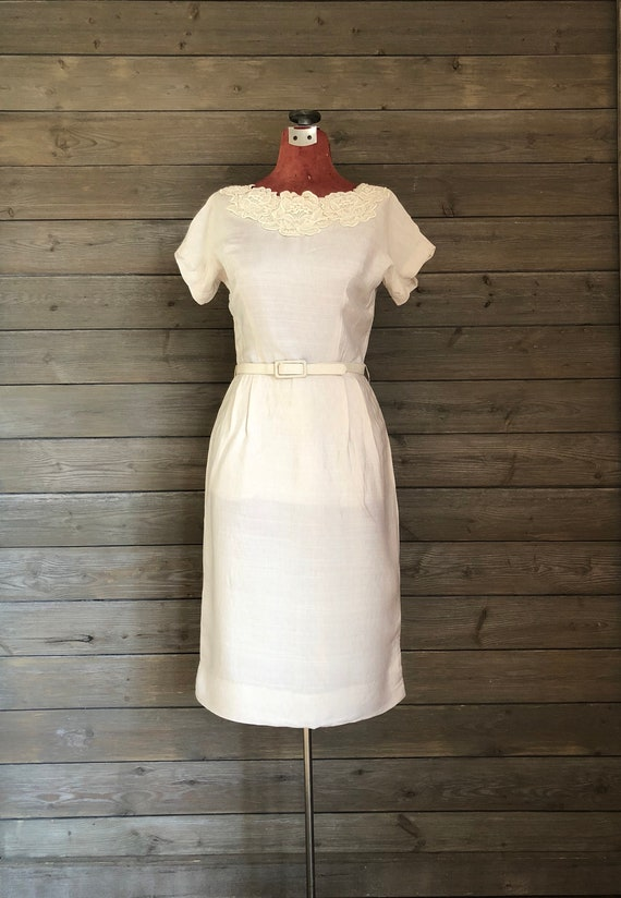 1950s/1960s Beige Wiggle Dress with Matching Jacke