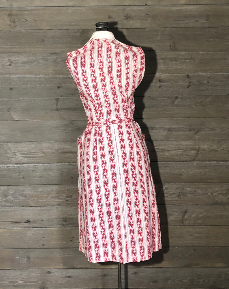 98dafc6d50b 1950s White Sundress with Red Greek Meander-Patterned Stripes