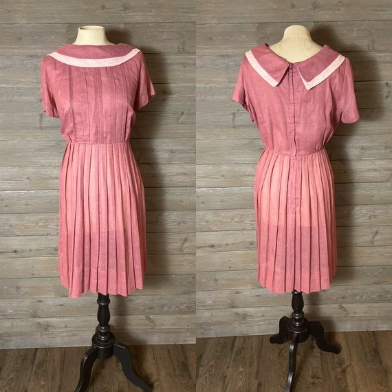 1960s Pink Day Dress, Pleated Skirt - Large