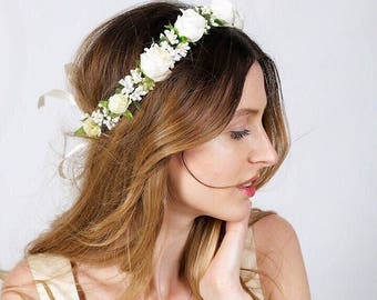 White flower crown etsy flower hair wreath bridal flower crown adult bridal floral crown wedding headband flower head wreath white flower crown bachelorette crown mightylinksfo
