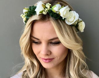 White rose flower crown Bridal hair wreath wedding flower crown Wedding  halo Flower headband Boho floral crown Girl flower crown Bridesmaid 227f7bafffb