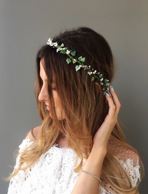 White flower crown wedding floral crown leaf crown simple  5a9cdea51f4