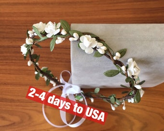 White green flower crown wedding floral crown wedding headband flower circlet bridal crown wedding hair wreath leaf crown flower girl crown