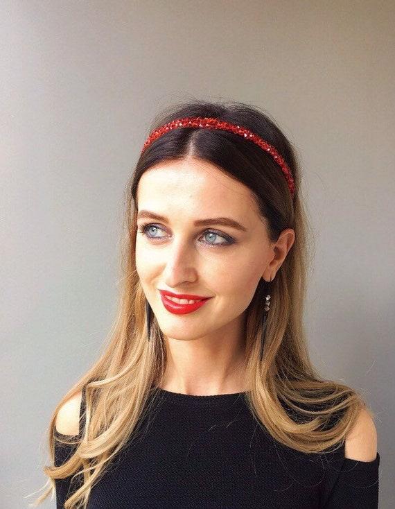 31abce9f Double headband bridal red double tiara baroque bridal | Etsy