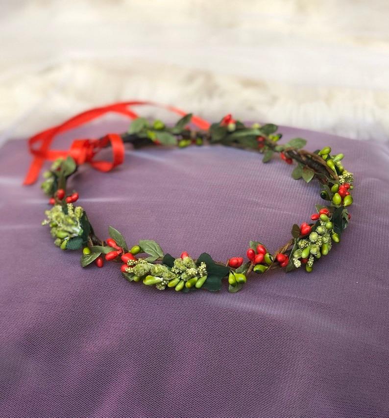 Red green flower crownFall weddingFloral headpieceBridal headbandFlower girl crownFlower hair wreathFlower haloToddler flower crown