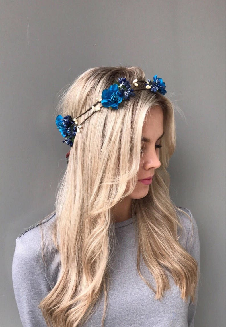 Blue Flower Crown Double headpiece Woodland crown head wreath Wedding Hair Piece Floral Headpiece rustic wedding crown halo floral headband