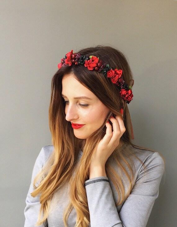 Rote Blume Krone Hochzeit Blumen Krone Hochzeit Stirnband Etsy