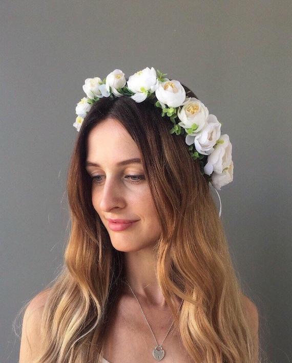 White flower crown bridal flower crown wedding floral crown etsy image 0 mightylinksfo
