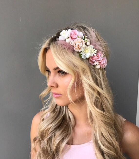 Beige Weisse Blume Krone Hochzeit Blumen Krone Blume Haar Kranz Etsy