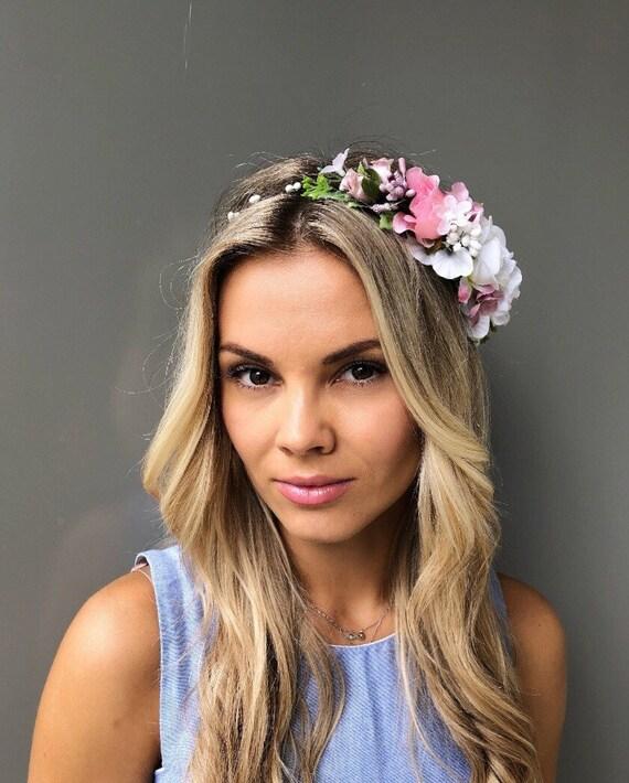 White flower crown wedding floral crown wedding hair wreath  3e4bc6a11c4
