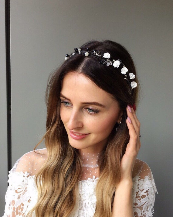 White black flower crown romantic wedding headband flower  e7c88cc2eb7