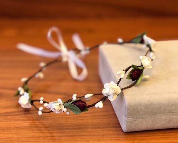 Bourgogne blanc fleur couronne mariage mariée Couronne mariage fleur bandeau Rose fleur couronne tête de fleur couronne mariage floral Couronne florale