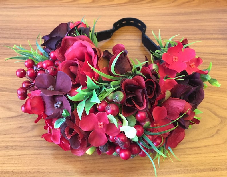 Red flower crown wedding floral headband bridal flower headband wedding flower crown adult flower headpiece girl crown bridal head pieces