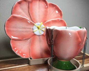 Pink Flower Tea Cup w/Saucer and Stand 3 Piece Set of Teleflora -- Vintage