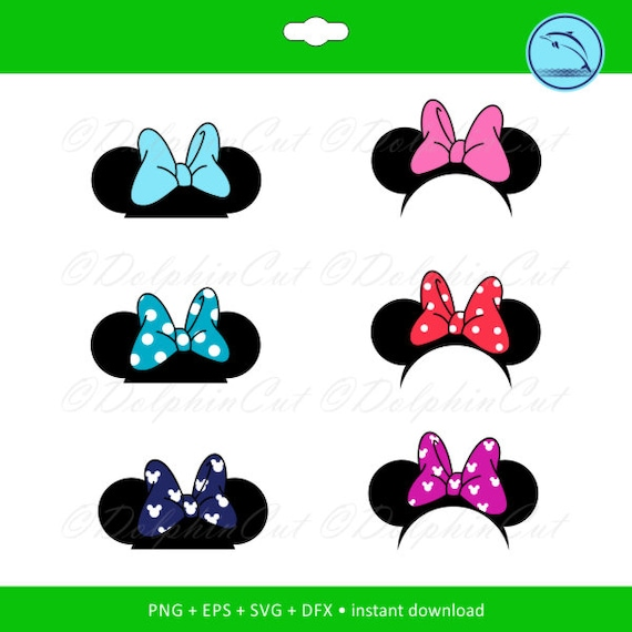 photograph relating to Disney Silhouette Printable identified as Minnie Mouse Ears Disney silhouette for reducing, sbooking Disney png, svg, dxf, eps vector thoughts, printable data files, significant purple polka dot bow