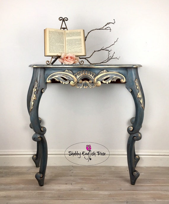 lowest price 9999e 658d1 Blue and Gold Hand-painted Console Table Sideboard, Up-cycled Hall Stand,  Entryway Furniture, Chalk-painted Desk Dressing Table, TV Stand