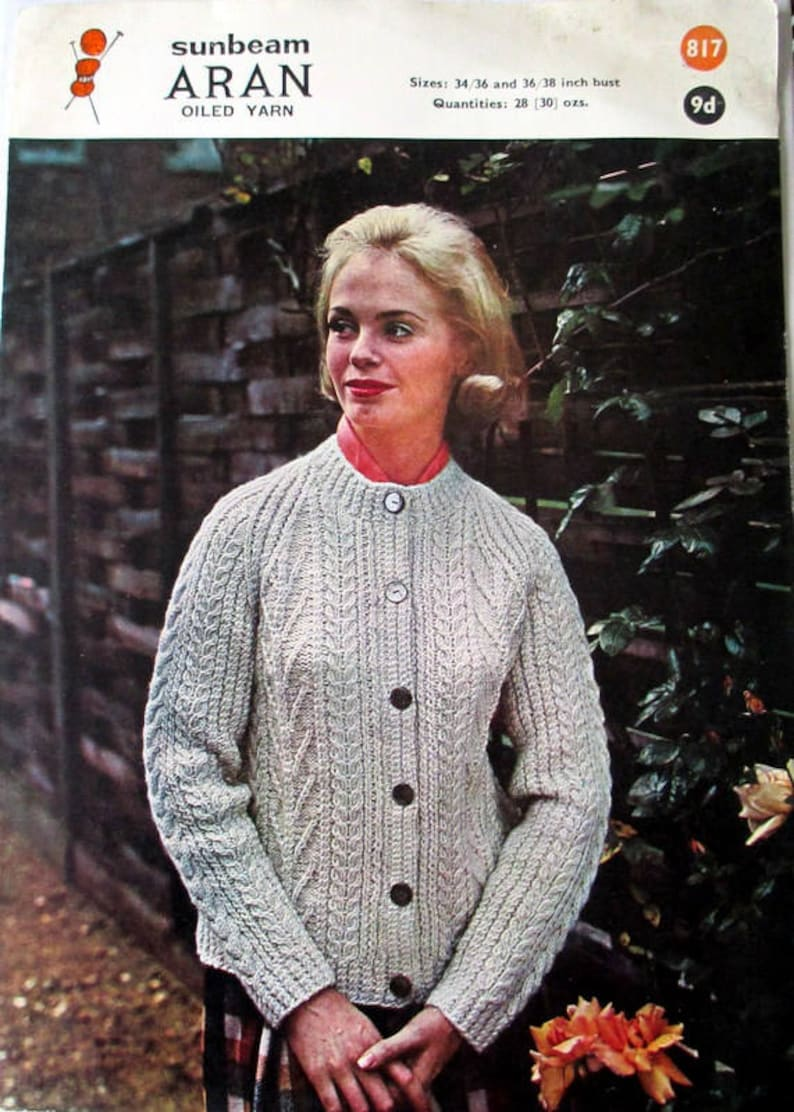 9f7e4b17aa68ad Pattern for Ladies Aran Lumber Jacket Vintage Pattern for