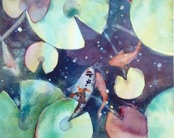 Pond Patterns, original watercolour by Shari Hills