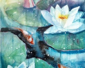 Waterlilies I an original watercolour by Shari Hills