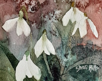 New Year Snowdrops, original watercolour painting