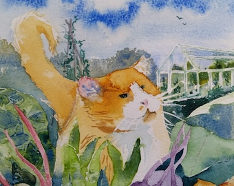 Allotment Cat, original watercolour painting by Shari Hills