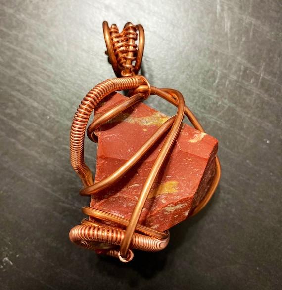 Raw Red Jasper Energy Wrap Pendant