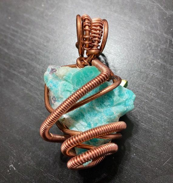 Raw Amazonite Energy Wrap Pendant