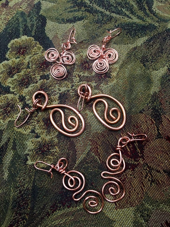 3 Pair Copper Earrings